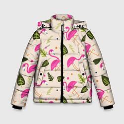 Куртка зимняя для мальчика Нежный фламинго цвета 3D-черный — фото 1