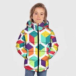 Куртка зимняя для мальчика 3D кубы цвета 3D-черный — фото 2