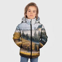 Куртка зимняя для мальчика Туман в горах цвета 3D-черный — фото 2