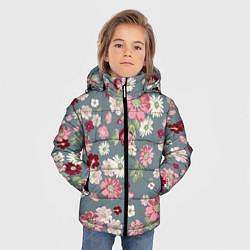 Куртка зимняя для мальчика Цветочки цвета 3D-черный — фото 2