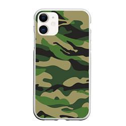 Чехол iPhone 11 матовый Камуфляж: хаки/зеленый цвета 3D-белый — фото 1