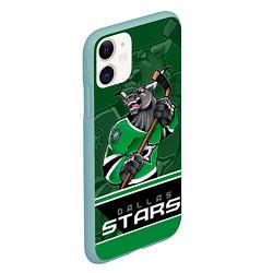 Чехол iPhone 11 матовый Dallas Stars цвета 3D-мятный — фото 2