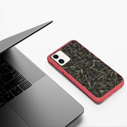 Чехол iPhone 11 матовый Камуфляж с холодным оружием цвета 3D-красный — фото 2