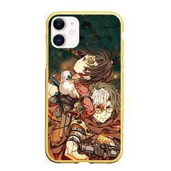 Чехол iPhone 11 матовый Воин крепости цвета 3D-желтый — фото 1