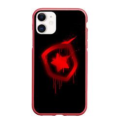 Чехол iPhone 11 матовый Gambit: Black collection цвета 3D-красный — фото 1