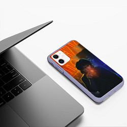 Чехол iPhone 11 матовый Виктор Цой в ночи цвета 3D-светло-сиреневый — фото 2