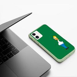 Чехол iPhone 11 матовый Гомер в кустах цвета 3D-салатовый — фото 2