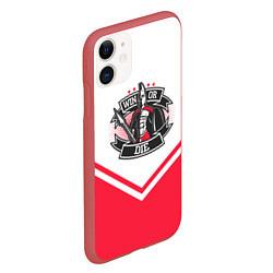 Чехол iPhone 11 матовый Победи или умри цвета 3D-красный — фото 2