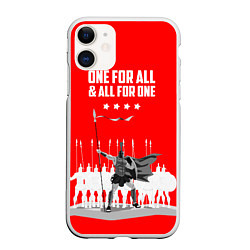 Чехол iPhone 11 матовый One for all & all for one цвета 3D-белый — фото 1