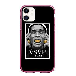 Чехол iPhone 11 матовый ASAP Rocky: Gold Edition цвета 3D-малиновый — фото 1