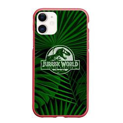 Чехол iPhone 11 матовый Jurassic World: Green Tropic цвета 3D-красный — фото 1