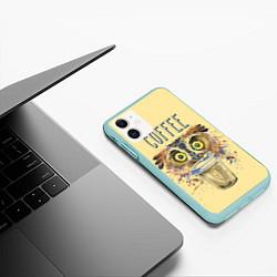 Чехол iPhone 11 матовый Owls like coffee цвета 3D-мятный — фото 2