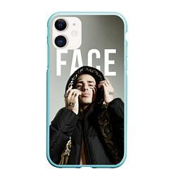 Чехол iPhone 11 матовый FACE: Slime цвета 3D-мятный — фото 1