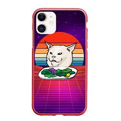 Чехол для iPhone 11 матовый с принтом Woman yelling at a cat, цвет: 3D-красный, артикул: 10200535305889 — фото 1