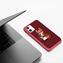 Чехол iPhone 11 матовый Кофе любят не только люди цвета 3D-красный — фото 2