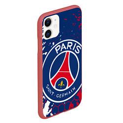 Чехол iPhone 11 матовый ФК ПСЖ FC PSG PARIS SG цвета 3D-красный — фото 2
