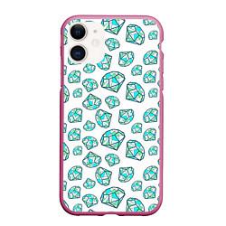 Чехол iPhone 11 матовый Бриллианты цвета 3D-малиновый — фото 1
