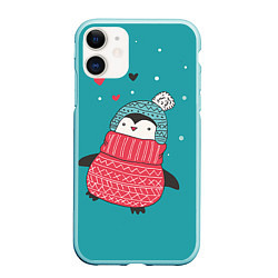 Чехол iPhone 11 матовый Пингвинчик цвета 3D-мятный — фото 1