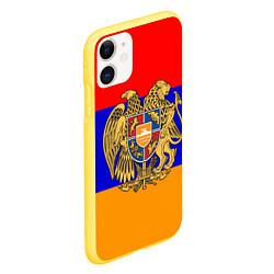 Чехол iPhone 11 матовый Герб и флаг Армении цвета 3D-желтый — фото 2