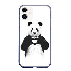 Чехол iPhone 11 матовый Panda Love