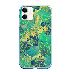 Чехол iPhone 11 матовый Узор из листьев