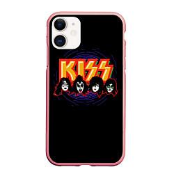 Чехол iPhone 11 матовый KISS: Death Faces цвета 3D-баблгам — фото 1