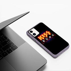 Чехол iPhone 11 матовый KISS: Death Faces цвета 3D-серый — фото 2