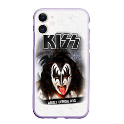 Чехол iPhone 11 матовый KISS: Adult demon wig цвета 3D-светло-сиреневый — фото 1