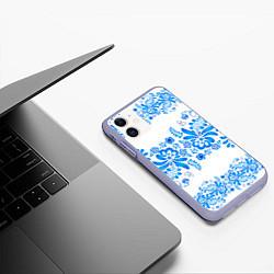 Чехол iPhone 11 матовый Гжель цвета 3D-светло-сиреневый — фото 2
