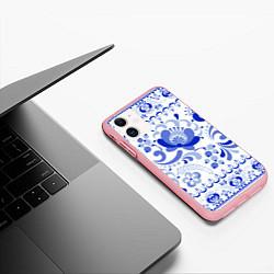 Чехол iPhone 11 матовый Гжель 2 цвета 3D-баблгам — фото 2