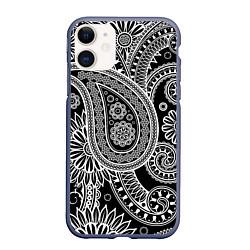 Чехол iPhone 11 матовый Paisley цвета 3D-серый — фото 1