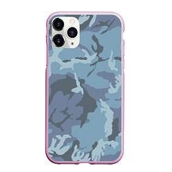 Чехол iPhone 11 Pro матовый Камуфляж: голубой/синий цвета 3D-розовый — фото 1