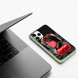 Чехол iPhone 11 Pro матовый Виктор Цой цвета 3D-салатовый — фото 2