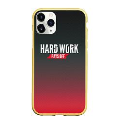 Чехол iPhone 11 Pro матовый Hard Work Pays Off: Red цвета 3D-желтый — фото 1
