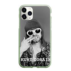 Чехол iPhone 11 Pro матовый Кобейн в очках цвета 3D-салатовый — фото 1