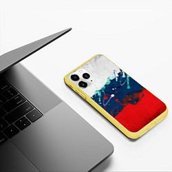 Чехол iPhone 11 Pro матовый Триколор РФ цвета 3D-желтый — фото 2