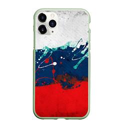 Чехол iPhone 11 Pro матовый Триколор РФ цвета 3D-салатовый — фото 1