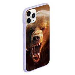 Чехол iPhone 11 Pro матовый Рык медведя цвета 3D-светло-сиреневый — фото 2