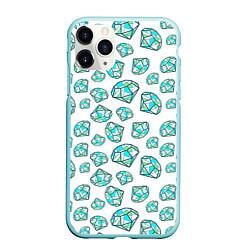 Чехол iPhone 11 Pro матовый Бриллианты цвета 3D-мятный — фото 1