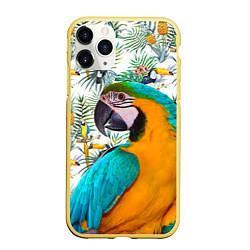 Чехол iPhone 11 Pro матовый Летний попугай цвета 3D-желтый — фото 1