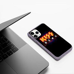 Чехол iPhone 11 Pro матовый KISS: Death Faces цвета 3D-серый — фото 2