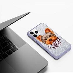 Чехол iPhone 11 Pro матовый Йоркширский терьер цвета 3D-светло-сиреневый — фото 2