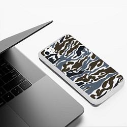 Чехол iPhone 6/6S Plus матовый Камуфляж зимний: болотный/синий цвета 3D-белый — фото 2