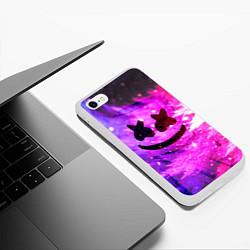 Чехол iPhone 6/6S Plus матовый Marshmello Lights цвета 3D-белый — фото 2