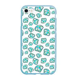 Чехол iPhone 6/6S Plus матовый Бриллианты цвета 3D-голубой — фото 1