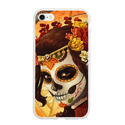 Чехол iPhone 6/6S Plus матовый Девушка. Сахарный череп цвета 3D-белый — фото 1