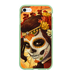 Чехол iPhone 6/6S Plus матовый Девушка. Сахарный череп цвета 3D-салатовый — фото 1