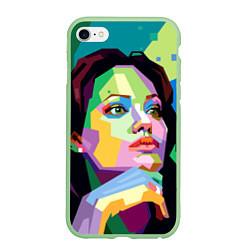 Чехол iPhone 6/6S Plus матовый Angelina Jolie: Art цвета 3D-салатовый — фото 1