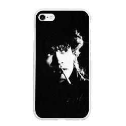 Чехол iPhone 6/6S Plus матовый Цой с сигаретой цвета 3D-белый — фото 1