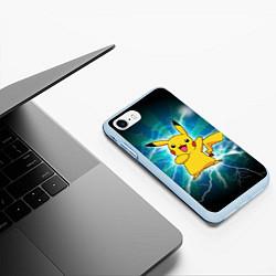 Чехол iPhone 7/8 матовый Искрящийся Пикачу цвета 3D-голубой — фото 2